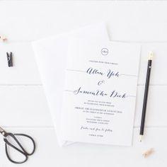 Classic and Elegant wedding invitation in navy blue and white. Peach Perfect Australia. #wedding #invitation #navyinvitations #peachperfect