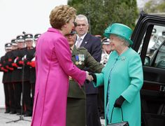 President Mary Mc Aleese welcomes Queen Elizabeth II at Aras An Uachtarain on May 17, 2011 in Dublin,Ireland. The Queen's visit, accompanied by The Duke of Edinburgh, is the first by a monarch since 1911. An unprecedented security operation is taking place with much of the centre of Dublin turning into a car free zone. Republican dissident groups have made it clear they are intent on disrupting proceedings.
