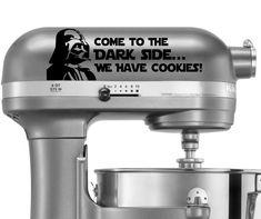 Come To The Dark Side.We Have Cookies! Star Wars inspired decal - vinyl decal, home decor, vinyl sticker, kitchen decal, darth vader vinyl Secret Apps, Kitchen Decals, Easy To Make Desserts, Sugar Spoon, Vinyl Crafts, Bake Sale, Kitchen Aid Mixer, Vinyl Decals, Sticker