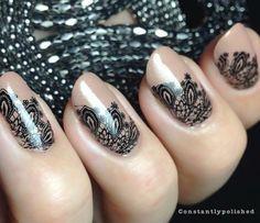Nail Art, Nail Designs, Unique Nails, Nail It Daily Lace Nail Design, Nail Design Spring, Lace Nail Art, White Lace Nails, Manicure Nail Designs, Nail Manicure, Nail Art Designs, Nail Polish, Manicures
