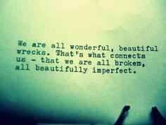 We are all wonderful, beautiful wrecks. That's what connects us - that we are all broken, all beautifully imperfect.
