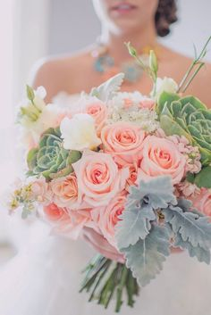 Peach+rose,+green+succulent,+and+sage+green+foliage+bouquet
