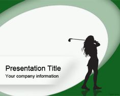 Woman Golf PowerPoint template is a green sports PowerPoint slide design with a woman silhouette ready to be used as a free PowerPoint background for sports and woman presentations