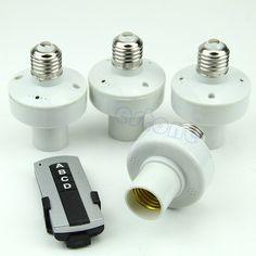 OOTDTY J34  4Pcs E27 Wireless Remote Control Light Lamp Bulb Holder Cap Socket Switch