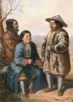 1862 illustration of Ainu (left) and Nivkhs.   The Nivkh are an indigenous ethnic group inhabiting the northern half of Sakhalin Island and the region of the Amur River estuary in Russia's Khabarovsk Kraits. The Nivkh are believed to be the original inhabitants of the region deriving from a proposed Neolithic people migrating from the Transbaikal region during the Late Pleistocene.