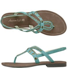 Teal-Turquoise boho sandals with studs on them. #fashion #bohemian #footwear