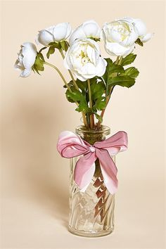 "11"""" Glass Bottle Filled with White Silk Ranunculus and Tied with a Pink Silk Bow - From the Heirloom Collection"