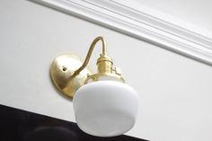 Gold Brass Wall Sconce White Schoolhouse by IlluminateVintage