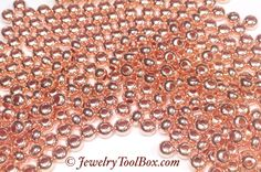Metal Seed Beads, 8/0, Size 8, COPPER Plated, 2x3mm, Brass Spacers, Made in the USA, Lead Free, Lot Size 18 to 38 grams, #1430