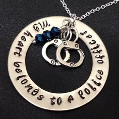 My Heart Belongs to a Police Officer Hand-Stamped Washer Necklace with Handcuff Charm and Birthstone Crystals by Ashijewelers on Etsy