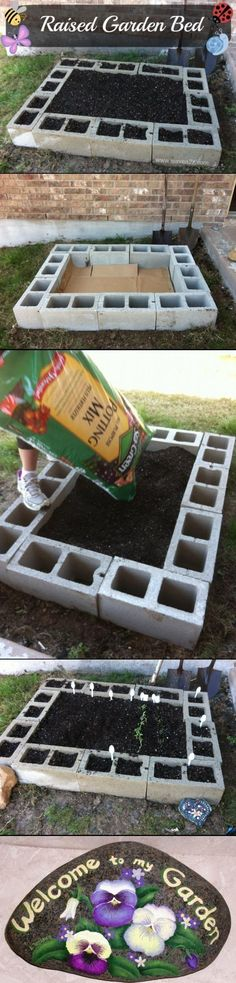 Garden Bed Designs made with cinder blocks Genius! Raised Garden Bed with painted rocks and a painted fence! Budget friendly too! Raised Garden Bed with painted rocks and a painted fence! Raised Bed Garden Design, Garden Design Plans, Garden Types, Raised Beds, Lawn And Garden, Diy Garden, Water Garden, Garden Art, Fenced Garden