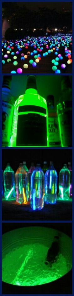 Great glow stock party ideas! Minus the liquor bottle