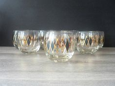 Mid Century Modern Harlequin Gold and Black Roly Poly Glass