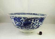 Antique 19thC Chinese Blue & White Porcelain Dragon Bowl Kangxi Mark