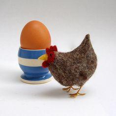 little brown hen needle felt chicken by Lybo on Etsy, $30.00