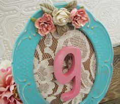 Letter G Nursery Art Baby Girl Nursery Tiffany Blue Frame Flowers Lace