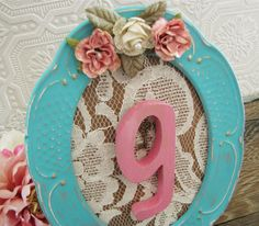 Letter G Nursery Art Baby Girl Nursery Tiffany Blue Frame Flowers Lace