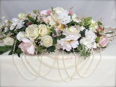Large Pink, Cream, Ivory Top Table Arrangement #piecesandposies