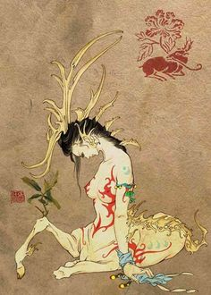 Bi Xie 辟邪 - Evil Deflector; Chinese Unicorn - Kylin is a form of unicorn with one horn, Parthia is a form of unicorn with two horn. Demonic Beast.