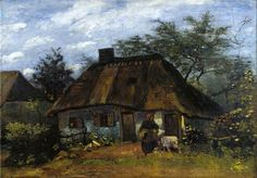 Cottage and Woman with Goat (La Chaumiére) Vincent van Gogh - 1885 Städel Museum - Frankfurt (Germany) Painting - oil on canvas Height: 60 cm (23.62 in.), Width: 85 cm (33.46 in.)