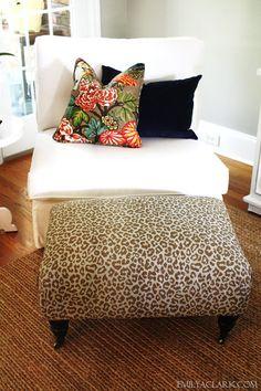 Cream chair + Leopard Ottoman + fab pillow