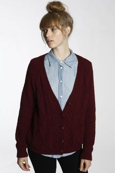 pair grandpa sweater + chambray shirt + top knot