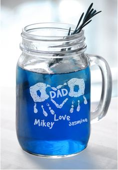 16 Oz Dad Handprint Heart Fathers Day Gift Idea Engraved Mason Jar Personalized Drinking Glass Etched Gift for Father from Kids Son Daughter