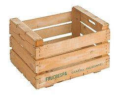 Caja de fruta antigua de madera de pino, natural - 33x50 cm