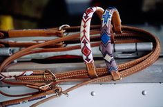 Western-style beadwork headstalls in native American patterns