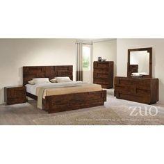 Zuo Modern San Diego Walnut Rubberwood 5pc Bedroom Set w/Queen Bed 8003-BR-S1