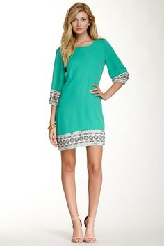 Printed Trim Shift Dress by Pink Owl on @HauteLook