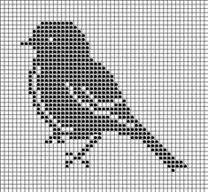Filet crochet or counted cross stitch bird Cross Stitch Bird, Cross Stitch Animals, Cross Stitch Charts, Cross Stitching, Cross Stitch Embroidery, Cross Stitch Patterns, Filet Crochet Charts, Knitting Charts, Knitting Patterns