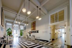This photo is taken inside one of Josef Hoffmann's first functional structures in Vienna. Its called the 'Sanatorium Purkersdorf' and was a huge step towards modern art as he strays away from traditional methods of architecture. Joseph Hoffman, Conservatory Extension, Art Nouveau, Art Deco, Entrance Hall, Tile Design, Bauhaus, Geometric Shapes, Interior Inspiration