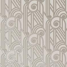 Volute Art Deco Style Wallpaper in Platinum   Bradbury & Bradbury