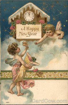 image nouvel an vintage Vintage Happy New Year, Happy New Year Images, Happy New Year Cards, New Year Greeting Cards, New Year Greetings, Vintage Greeting Cards, Vintage Christmas Cards, Vintage Postcards, Vintage Images