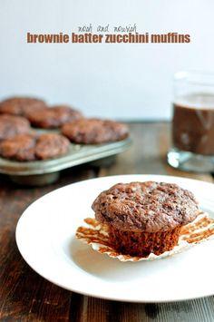 Brownie Batter Zucchini Muffins // via Nosh and Nourish