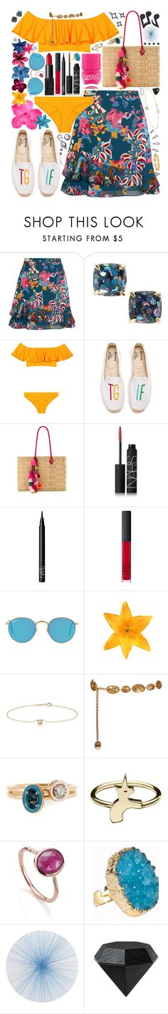 """""""{mai's contest entry • day two}"""" by kk-purpleprincess ❤ liked on Polyvore featuring Saloni, Kate Spade, Lisa Marie Fernandez, Soludos, MISA Los Angeles, Nails Inc., NARS Cosmetics, Ray-Ban, Clips and Jennifer Meyer Jewelry"""