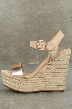 #AdoreWe #Lulus Lulus❤️Designer Footware Rena Rose Gold Espadrille Wedges - AdoreWe.com
