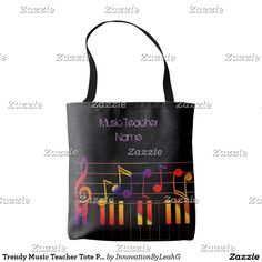 Trendy Music Teacher Tote Personalized Tote Bag