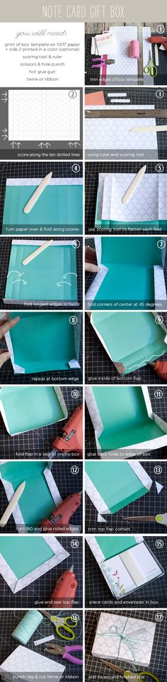 How to Make a Note Card Gift Box...With a bit of sizing and adjusting, I made a paper box that perfectly fits 20 note cards and 20 A2 envelopes. Print this template on a tabloid sheet (11X17) on either card stock or text weight paper