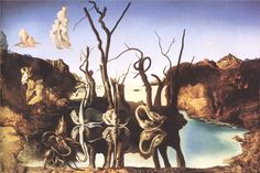 WikiPaintings.org - the encyclopedia of painting Dali's Swans reflecting Elephants