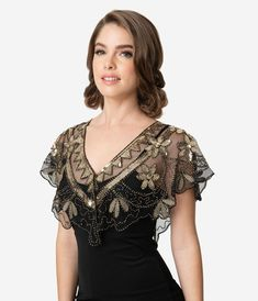Women Fashion Beaded Sequin Deco Shawl Evening Flapper Cover up EA 03