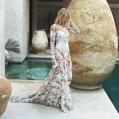 Avril Gown in all her lace glory  #behindthescenes #ruedeseine #lovespell #avrilgown #bohobride