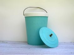 Retro Turquoise Blue Ice Bucket Cooler - Mid Century Plastic Beverage Pail for Summer. $24.00, via Etsy.