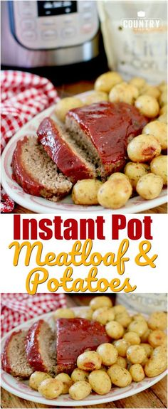 Instant Pot Electric Pressure Cooker Meatloaf and Potatoes recipe from The Country Cook #ad #littlepotatoes #instantpot #easy #dinner #ideas #instantpotmeatloaf #instantpotpotatoes