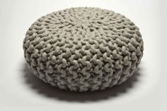 Handknitted Urchin Pouf light grey by Christien Meindertsma for Thomas Eyck. This pouf is handknit using strong wool from New Zealand crossbred sheep, handknitted in the Netherlands. Green Furniture, Furniture Upholstery, Home Decor Furniture, Natural Modern Interior, Knitted Pouf, Ottoman Design, Thick Yarn, Color Studies, Decoration