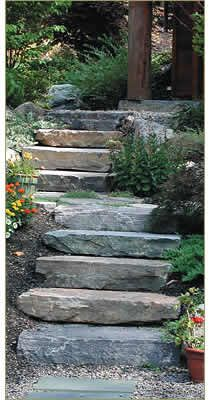 Some beautiful ideas for stone steps! which happens to be our next outdoor project for our home.