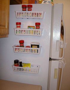 Maximize your small kitchen by using the side of your refrigerator -   This might be just the thing!