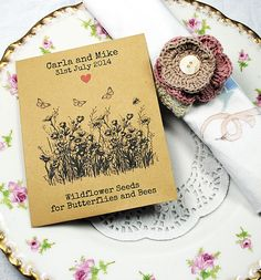 British wildflower seeds for the bees and butterflies!  Great and useful wedding favours!  Recycled wedding favour. £1.25