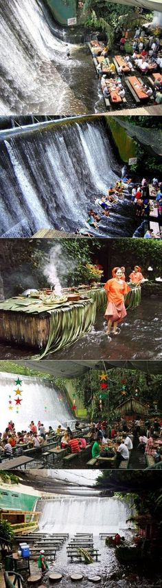 Waterfall restaurant at Villa Escudero Resort in the Philippines #travel #Pinoy